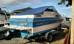 1988. .1998 vortec 4.3l v6 with alpha one drive. Lots of recent work. Stainless prop. Trim tabs. Vhf. GPS chartplotter(needs chip). Porta potty in small bathroom. Sink stove and icebox. Sleeps four with fore and aft cabins. Nice stereo with new fuse
