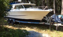 25' Double Eagle with two 115 Yamaha long shaft 4 stroke motors with very low hours and 9.9 Yamaha kicker 4 stroke with pod. Brand new 55 gallon gas tank. Two bran new deep cycle batteries. Front and rear steering. Mount for electric down rigger. GPS,