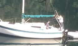 Price reduced for quick sale One too many boats 1974 Columbia raised deck sloop Hauled out and profession painted and new zincs Last year 2014 9.9 Mercury engine with electric start And generator engine only used two seasons Very low hours Mooring bouy