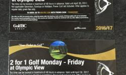 2 Passes for 2 for 1 golf 1 Coupon to receive a free power cart Over $140 value Accepting offers