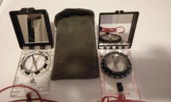**Price reduced $100 or best offer** NEXUS hand-held bearing compass x 2 CDN Military case x 1 Compass operates in the world in every corner of the global rebalancing, Very sensitive Clinometer Large mirror Centimeter and inch scales Declination
