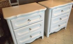Brand name high quality night tables, solid wood and very heavy. Quality drawer slides. 28 inches high 26 inches wide 16 inches deep $150 for both.