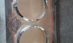 $10 for each set. Two sets of chrome Harley driving light rims In excellent shape