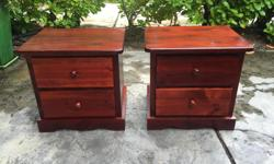 these are like new solid pine night tables in excellent condition from a non smoking no pets home. I can deliver. 250 208 3174