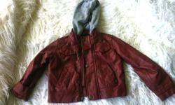 Euc, worn twice, built in hoodie, pick up Lantzville , burgundy wine color pleather