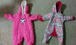 2 Winter suits for 3-6 months baby girl in excellent condition from a smoke free and pet free home.