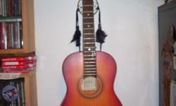 Encore ENC30S 3/4 Size Acoustic Guitar purchased from the Ottawa Folklore Centre Ottawa 1995 stamped Nov 20 1995 label made in Romania by the John Hornby Skewes Co can be used with nylon or steel strings with new light Gauge DAddario jJ16 Phos Bronze