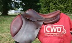 2010 CWD Classic close contact jumping saddle for sale. 16.5 seat, size1 flap, pro panel to fit many horses. Dark grain leather with Calfskin seat and knee rolls. In new condition! asking and Appraised by CWD rep at $3500.00.