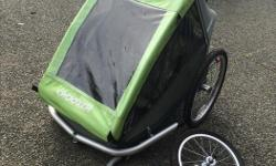 Excellent used condition:). Comes with: Bike attachment Little stroller wheel Big hiking wheel Paid over $400 two years ago, still have manual