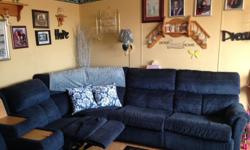3piece sectional with 2 side by side recliners with a pull out bed blue in colour in excellent shape asking 850