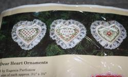 """CROSS STITCH KIT BY CREATIVE CIRCLE. KIT INCLUDES 3 PUFFY STUFFED HEARTS WITH LACE. CHANGE NAME TO SUIT. ALL SUPPLIES INCLUDED IN KIT.EACH 3.5""""X 3.75"""".VERY CUTE."""
