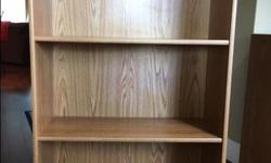 """imitation oak shelving unit 48"""" H x 29""""L x 11"""" W picture to be posted soon Plus Imitation oak desk on castors with pull out keyboard shelf. Size 35""""L x 33.5"""" H x 19.5"""" W If both pieces bought together $30"""