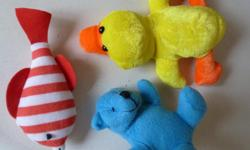 3 cute stuffed animals yellow & orange duck 6.5 inches long red & white striped fish 5.5 inches long blue teddy bear 4.5 inches tall 3 small plush toys Can buy separately 50 cents each great condition - from my pet-free & smoke-free home Willing to Trade