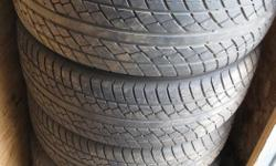 Very low mileage Nexen Dark Horse II-60 tires in very good condition mounted on 5- hole rims. They were on an 2003 Alero that we no longer have. Will fit other cars with the same bolt pattern. Asking $250 or best offer. Mounted and balanced. Call or text