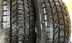 BE READY FOR WINTER. BRAND NEW TIRES NEVER USED, SOLD MY TRUCK. TOP OF THE LINE TIRES. PAID 1500 BRAND NEW. STUDDED FIRESTONE WINTERFORCE LT TIRES. GREAT FOR ON AND OFF GRAVEL ROADS FOR WINTER. in sayward. won't last long. ALL 4 TIRES