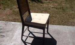 4 - one with arms - dining room chairs from what was once a nice set.... but the caning has dried out and is tearing. A pull over sleeve for the backs could fix this but I don't have the time. The chairs are otherwise very solid and well made. Asking