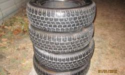 4 winter tires about 3/4 tread left on tires with studds. Hankook ZOVAC HPW 401 175/70R13
