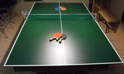4'x8' BILLIARD TABLE including STAINED GLASS LIGHT and PING-PONG TABLE-TOPPER. Full size slate table, just re-felted this Summer. Comes with various pool cues & rack, billiard balls and snooker balls, also ping-pong paddles & balls. Photos available.