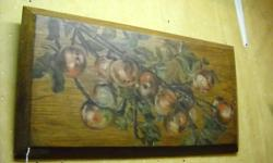 If the item is listed it is still for sale. It is removed immediately when sold. This hand-sawn plank of oak has a painting of a tree branch bearing fruit and covers most of the face of the antique plank. It is 12 x 23 1/2 inches. Please check out ALL my