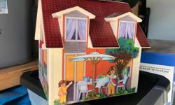 Play house Zoo Vet center Equestrian center Fairys Dragon Lots of animals Furniture for the house Camping set Lots of people Worth well over $300 new.