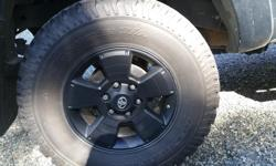 BF Goodrich LT 285/70R17 tires taken off of a 2015 Toyota tacoma. Four tires have about 30000km on them, maybe about 70% tread left on them and one tire is a spare so it is brand new, never used. I have a quote from cedar tire for 4 brand new tires
