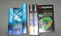 5 new VHS Tapes in original wrapper TDK,Maxell,Fuji .Steve 250-479-8348