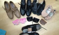 All shoes are leather.BACK ROW$70 Capezio size 6M Beige Character Shoes: Never worn, brand new, with thick sole. I have original box. Model Manhattan Character 653T Strap Have sold.$30 Bloch Jazz Shoes Size 7 lightly used$10 So Danca Size 5M Ballet Shoes