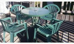 5 PC TABLE AND CHAIR SET. 26.5 INCHES ACROSS ROUND TABLE AND 4 PLASTIC CHAIRS ADVERTISED ON OTHER SITES PICK UP CLOSE TO BROAD ST AND 1ST AVE N TEXT OR EMAIL ONLY. NO PHONE CALLS PLEASE