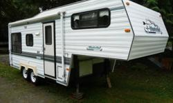 22.5ft (6.8m) 5th Wheel Gas stove/oven, gas/electric fridge, microwave, interior/exterior shower, queen bed, furnace, A/C, lots of storage. Includes hitch and airflow tailgate (Ford) Must be seen, great condition.