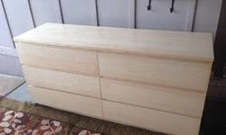 """New condition IKEA dresser has 6 drawers Smoking free pet free Width 63 """" (160 cm) Depth: 18 7/8 """" (48 cm) Height: 30 3/4 """" (78 cm) Delivery possible"""