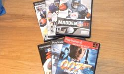 Sold only as a set of 6.  Madden 07, Madden 05, Madden 03, MLB 2K5, James Bond 007 Nightfire & James Bond 007 Everything Or Nothing.  All games are in perfect shape and work without any issue.  Sold ONLY as a set of 6.