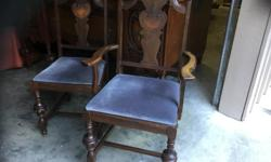 """table. with leaf. 58"""" by 40"""" with 1- 12"""" leaf inside the table 6 chairs good condition.slight water markings. on table top quality. furniture 30,s"""