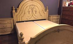 8pc king size beautiful sold wood bedroom set beautiful headboard footboard rill 2 night tables dresser with mirror and chest - $5100 ALL READY TO GO call 604-507-9409