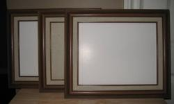 """Three Picture Frames for 8x10 pictures. No glass. Outside wood frame measures 13""""x11"""".  Matt is 1/2"""" wide. Individual frame $5 or take all three for $10."""