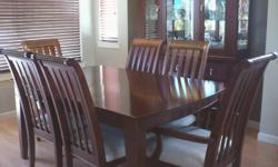9pc solid wood dining room set table with 6 chairs and hutch a matching display cabinet call 604-507-9409