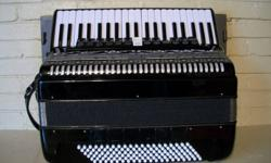 No name brand 120 bass Accordion. 13 treble registers, 6 bass. Excellent sound. About 4 years old. No bellow leaks, all reeds work, no sticky keys or buttons. Believe this was made in China. Reason for selling, too many accordions. Please call