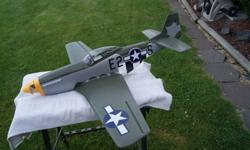 Alfa P-51 Mustang. Foam Mustang made by Alfa models from Czechoslovakia. Flies nicely, no crashes. Alfa waterslide decals are showing some of the usual wear. Setup for 750 to 1000 Mah 3 cell.Includes: Turnigy 2209 outrunner motor,Castle Creations