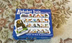 Large pieces great for little hands to learn the alphabet. All the pieces are there and in great shape. Stretches out in one long train so you need a bit of space to lay it out, but it makes for a fun game running back and forth to get the next piece.