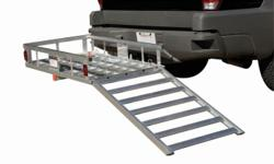 Rear carrier for 2 in receiver has ramps can carry up too 500lbs all aluminium when not in use folds up ..Great for wheelchairs ,scooters generators camping supplies..loud out of control kids or husbands lol just kidding paid $899 for it in excellent