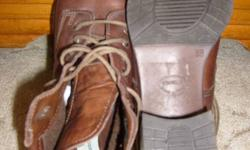 """Sz 7(38), 'Zanon Zago', Quality Leather Ankle Boots/5 eyelets/2 hooks to lace. Good ankle support above 2""""heel. Laces, good cond too. Pull up tabs at top of boots at back. Worn a few times/very little wear. $20. obo. See more ads. West side, north of"""