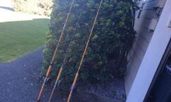 3 older fishing rods with left handed reels. $60.00 ea. 2 reels have steel lines