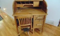 ANTIQUE HARDWOOD ROLL TOP DESK AND CHAIR ( OAK ) IN VERY GOOD CONDITION ASKING $600