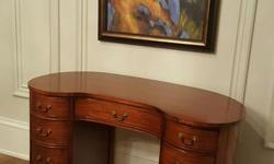"""Very cute Antique Mahogany Desk, kidney shaped. Minor scratches on it. Size: 46""""W x 24""""D x 30""""H"""