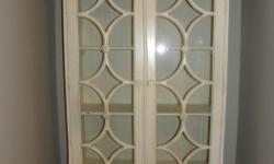 """French country distressed reproduction antique bookcase cabinet with drawers. Linen white. Solid Wood. Multi-purpose nicely detailed piece of furniture. 17""""Dx351/2""""Wx85""""H"""