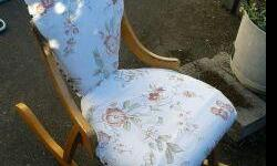 NICE .... chairs Clean cushions on Rocking chair child s size...$99.00 other two chairs are metal legs with Very Clean designed fabric cushions both for 33.00 Bissell vacuum no bags needed / canister style $67.00 as new in Victoria ...down Sizing... text