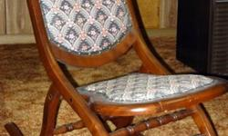 For sale:   Antique chair with matching rolling pin stool   Antique love seat   Antique fold up rocking chair   in great condition, well taken care of