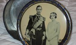 ANTIQUE BISCUIT TIN WITH KING GEORGE VI AND QUEEN ELIZABETH I ON LID.Very nice tin and no rust inside either.
