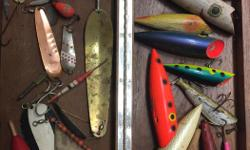 Some of these are production, some hand carved and painted. All wood and in good shape. Some old spoons, some old school spoons in mint shape. $10 each for spoons and plugs. The new condition spoons are $5 each. I have a lot of other fishing tackle so let