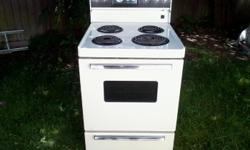 """24"""" wide, 240 volt stove, That would be ideal for a rental suite or trailer. Almond color. Made by White Westinghouse. Clock and timer do not work, however, all 4 elements on top, and the oven, work just fine. It's clean and can be seen plugged-in."""