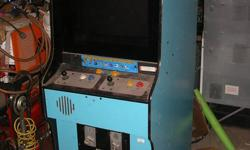 Two vintage arcade cabinets.  Bubble Bobble 2 - Game runs, but screen not showing one colour. Wonder Boy/Asteroids Deluxe - Wonder Boy controls and sign in Asteroids Deluxe cabinet art.  No screen.  Not sure what the game electronics are. In town for the